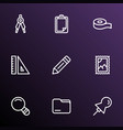 stationary icons line style set with ruler vector image