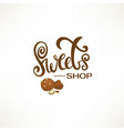 sweets shop lettering logo template with sketch vector image vector image