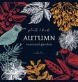 trendy colored autumn wreath design wild birds vector image vector image
