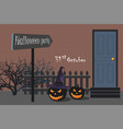 two halloween pumpkin in the yard vector image vector image