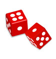 two red dice cubes with shadow on white vector image