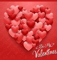 valentines hearts card on red background vector image vector image