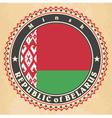 vintage label cards belarus flag vector image vector image