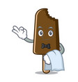 waiter chocolate ice cream mascot cartoon vector image vector image