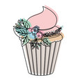 watercolor silhouette of hand drawing cupcake with vector image vector image