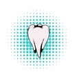 White tooth icon comics style vector image vector image