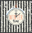 winter banner with clock and snowflakes vector image vector image