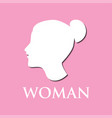 Woman logo on pink background