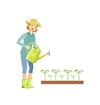 Woman Watering The Sprouts From A Can vector image