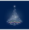 Christmas Tree of Lights on Dark Blue Background vector image