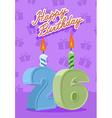 26 year Happy Birthday Card vector image vector image