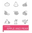 Apple and pear icon set vector image vector image