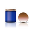 blank blue cosmetic round jar with copper lid in vector image vector image