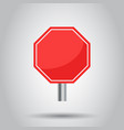blank red stop sign icon empty danger symbol vector image vector image