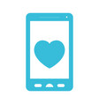 blue color silhouette of smartphone with heart in vector image vector image