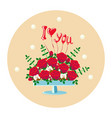 bouquet of red roses in a vase vector image