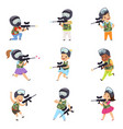 boys and girls paintball players set little kids vector image vector image
