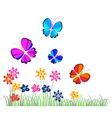 butterflies flying over flowers vector image