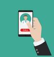 call ambulance car via mobile phone concept vector image