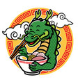 cartoon dragon mascot eat ramen vector image vector image