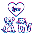 Cat and dog 3D vector image vector image