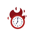 clock with red fire showing time running out vector image