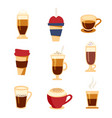 coffee types icons set flat style beverages menu vector image vector image