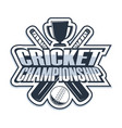 cricket championship monochrome vector image vector image