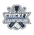 cricket championship monochrome vector image vector image