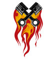 crossed engine pistons banner and flame tattoo vector image