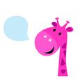 Cute pink talking giraffe vector image vector image