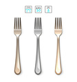 Cutlery Fork realistic Fork isolated on white Set vector image