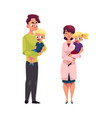 doctor pediatrician father holding girl boy vector image vector image