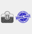 dot first-aid case icon and scratched vector image vector image