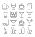 drink line icons set vector image vector image