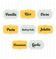 food storage labels kitchen food tags collection vector image vector image