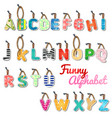 funny set letters english alphabet vector image