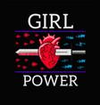 girl power - feminism slogan rock print vector image