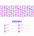giveaway or gifts concept with thin line icons vector image vector image