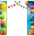 group of colour glossy helium balloons background vector image vector image