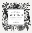 hand sketched autumn retro design with birds vector image vector image