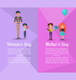 happy people with gifts on mothers and womens day vector image vector image