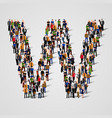large group of people in letter w form vector image vector image
