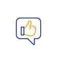 like line icon thumbs up sign vector image