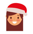little girl smiling wearing christmas hat vector image
