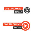 live streaming logo - play button for online vector image vector image