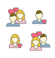 man and woman linear avatar in love vector image