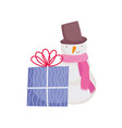 merry christmas celebration snowman gift box vector image vector image