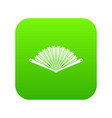 opened oriental fan icon digital green vector image vector image