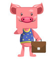 pig with suitcase on white background vector image vector image